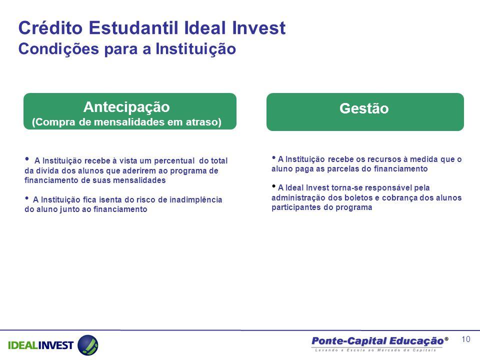10 Crédito Estudantil Ideal Invest Condições para a Instituição A Instituição recebe os recursos à medida que o aluno paga as parcelas do financiament
