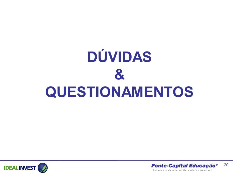 20 DÚVIDAS & QUESTIONAMENTOS