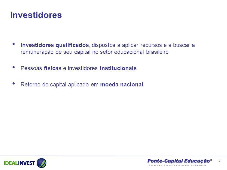 3 Investidores Investidores qualificados, dispostos a aplicar recursos e a buscar a remuneração de seu capital no setor educacional brasileiro Pessoas