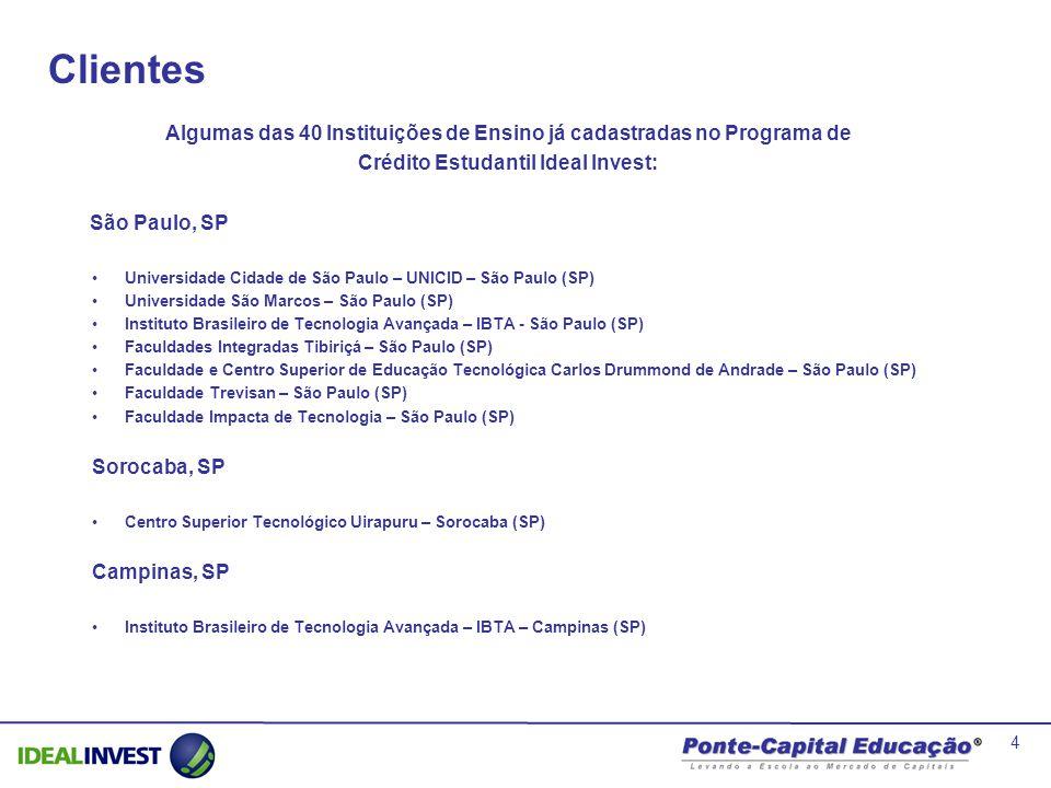 4 São Paulo, SP Universidade Cidade de São Paulo – UNICID – São Paulo (SP) Universidade São Marcos – São Paulo (SP) Instituto Brasileiro de Tecnologia