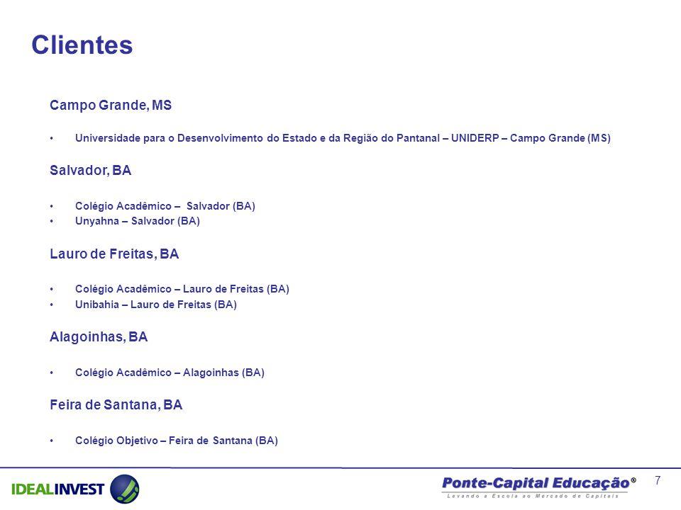 7 Campo Grande, MS Universidade para o Desenvolvimento do Estado e da Região do Pantanal – UNIDERP – Campo Grande (MS) Salvador, BA Colégio Acadêmico