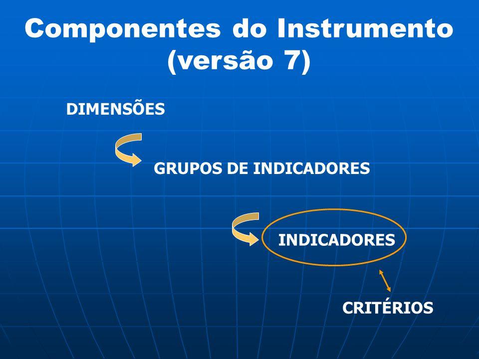 Componentes do Instrumento (versão 7) DIMENSÕES GRUPOS DE INDICADORES INDICADORES CRITÉRIOS