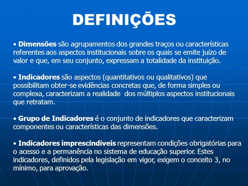 DEFINIÇÕES Dimensões são agrupamentos dos grandes traços ou características referentes aos aspectos institucionais sobre os quais se emite juízo de va
