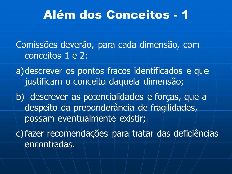 Além dos Conceitos - 1 Comissões deverão, para cada dimensão, com conceitos 1 e 2: a)descrever os pontos fracos identificados e que justificam o conce