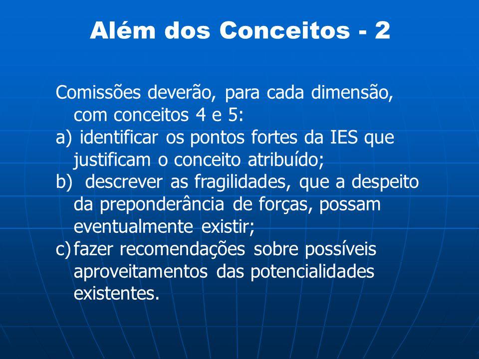 Além dos Conceitos - 2 Comissões deverão, para cada dimensão, com conceitos 4 e 5: a) identificar os pontos fortes da IES que justificam o conceito at