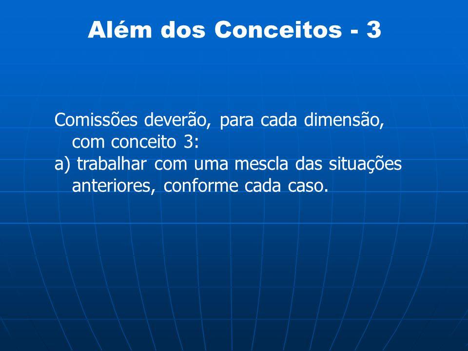 Além dos Conceitos - 3 Comissões deverão, para cada dimensão, com conceito 3: a) trabalhar com uma mescla das situações anteriores, conforme cada caso