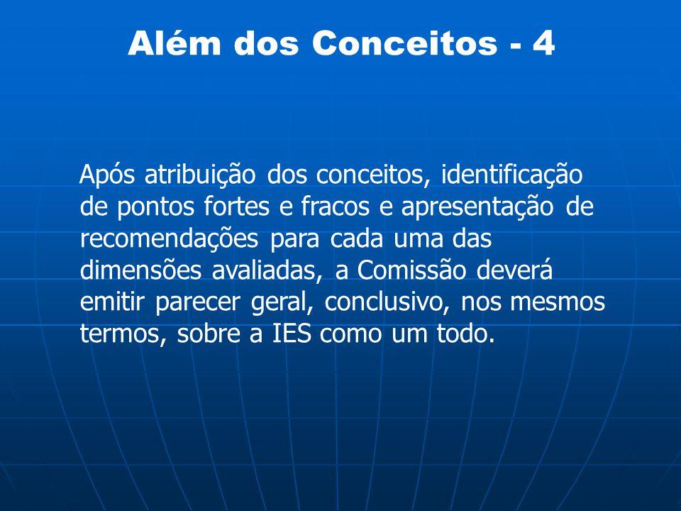 Além dos Conceitos - 4 Após atribuição dos conceitos, identificação de pontos fortes e fracos e apresentação de recomendações para cada uma das dimens