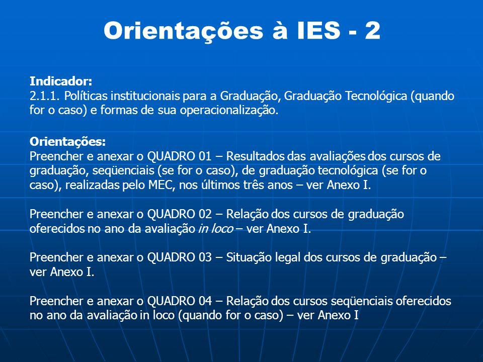 Orientações à IES - 2 Indicador: 2.1.1. Políticas institucionais para a Graduação, Graduação Tecnológica (quando for o caso) e formas de sua operacion
