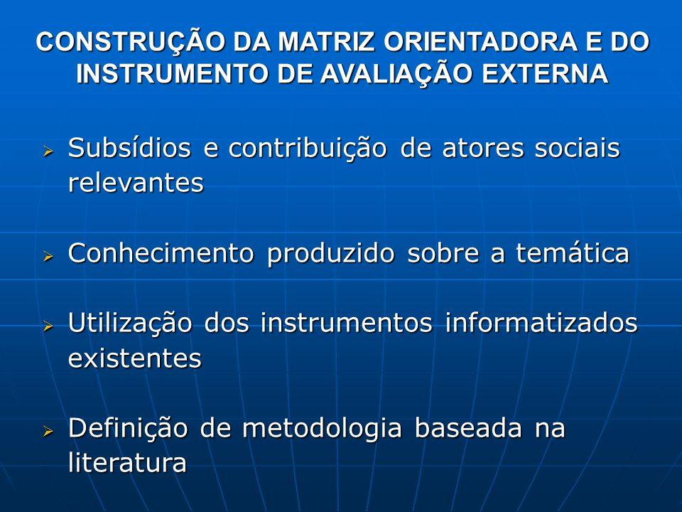 CONSTRUÇÃO DA MATRIZ ORIENTADORA E DO INSTRUMENTO DE AVALIAÇÃO EXTERNA  Subsídios e contribuição de atores sociais relevantes  Conhecimento produzid