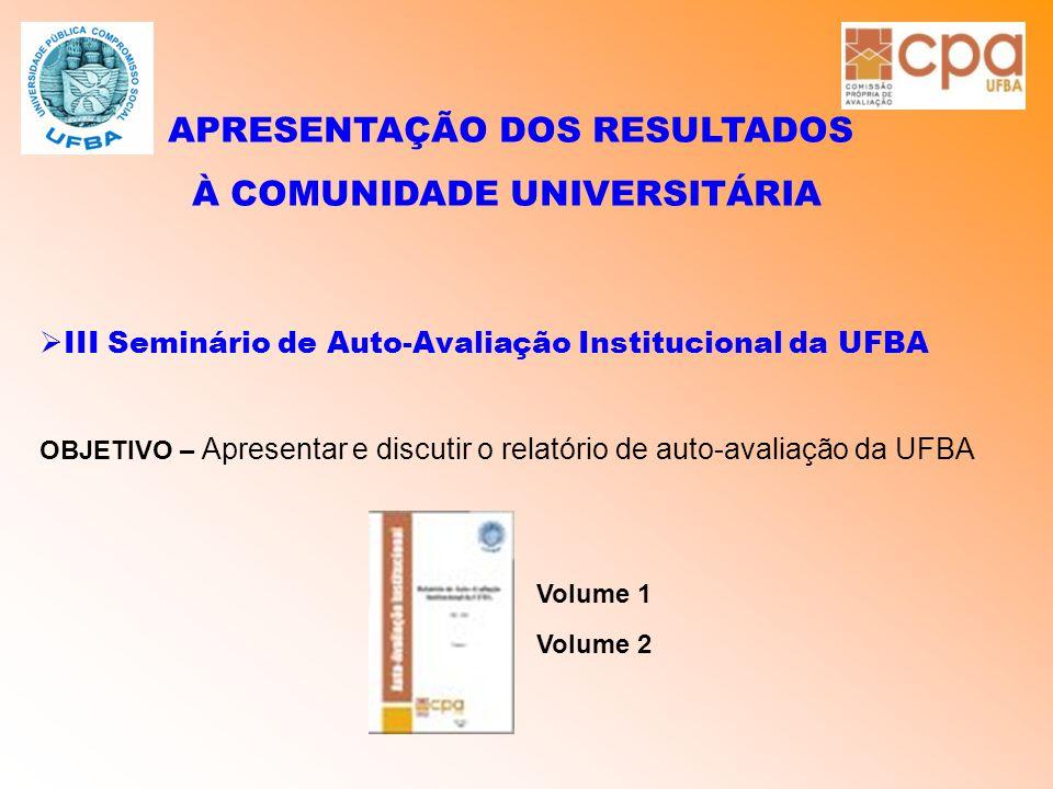 APRESENTAÇÃO DOS RESULTADOS À COMUNIDADE UNIVERSITÁRIA  III Seminário de Auto-Avaliação Institucional da UFBA OBJETIVO – Apresentar e discutir o rela