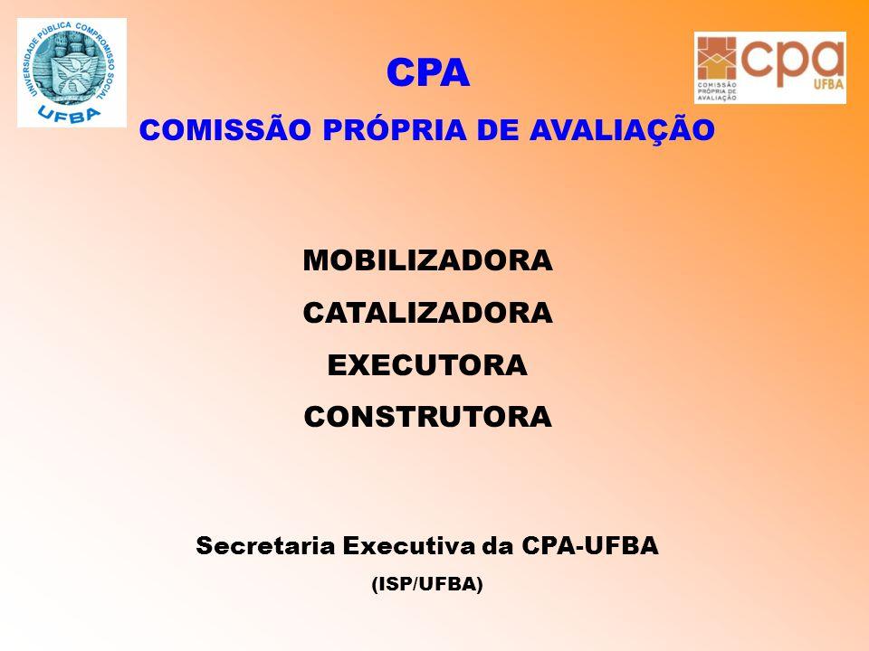 CPA COMISSÃO PRÓPRIA DE AVALIAÇÃO MOBILIZADORA CATALIZADORA EXECUTORA CONSTRUTORA Secretaria Executiva da CPA-UFBA (ISP/UFBA)