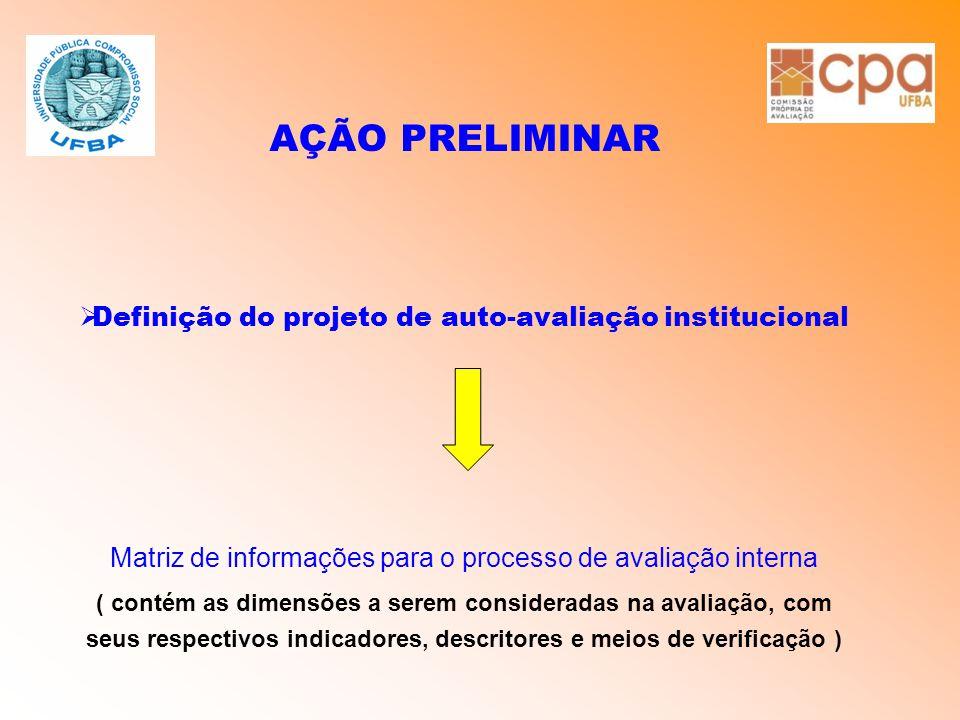 AÇÃO PRELIMINAR  Definição do projeto de auto-avaliação institucional Matriz de informações para o processo de avaliação interna ( contém as dimensõe