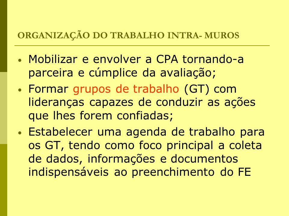 ORGANIZAÇÃO DO TRABALHO INTRA- MUROS Mobilizar e envolver a CPA tornando-a parceira e cúmplice da avaliação; Formar grupos de trabalho (GT) com lidera