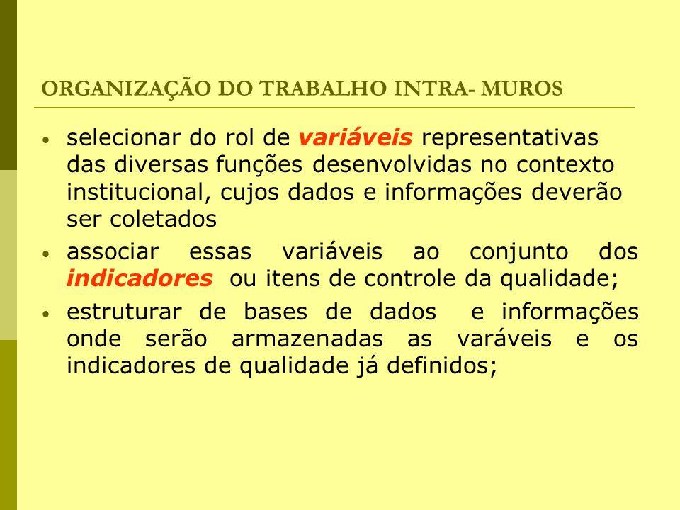 ORGANIZAÇÃO DO TRABALHO INTRA- MUROS selecionar do rol de variáveis representativas das diversas funções desenvolvidas no contexto institucional, cujo