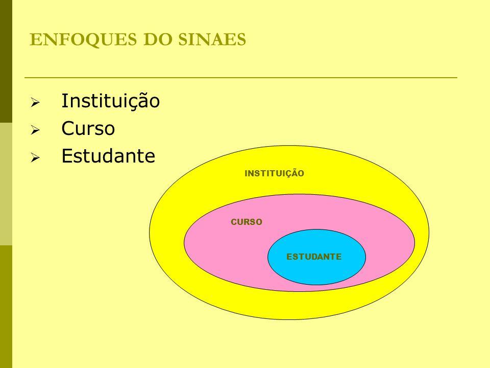 ENFOQUES DO SINAES  Instituição  Curso  Estudante ESTUDANTE CURSO INSTITUIÇÃO