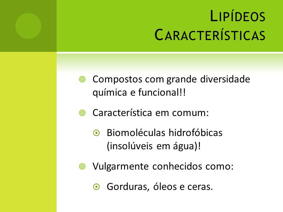 L IPÍDEOS C ARACTERÍSTICAS  Compostos com grande diversidade química e funcional!!  Característica em comum:  Biomoléculas hidrofóbicas (insolúveis