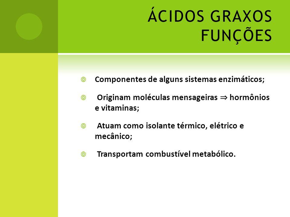 ÁCIDOS GRAXOS FUNÇÕES  Componentes de alguns sistemas enzimáticos;  Originam moléculas mensageiras ⇒ hormônios e vitaminas;  Atuam como isolante té