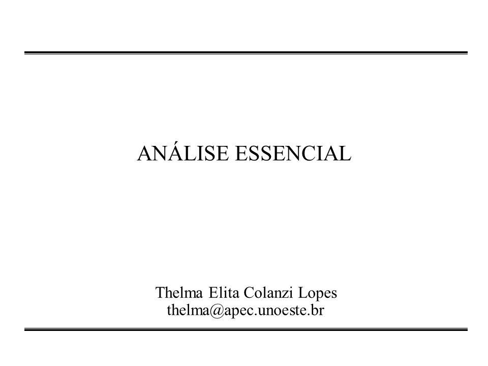 ANÁLISE ESSENCIAL Thelma Elita Colanzi Lopes thelma@apec.unoeste.br