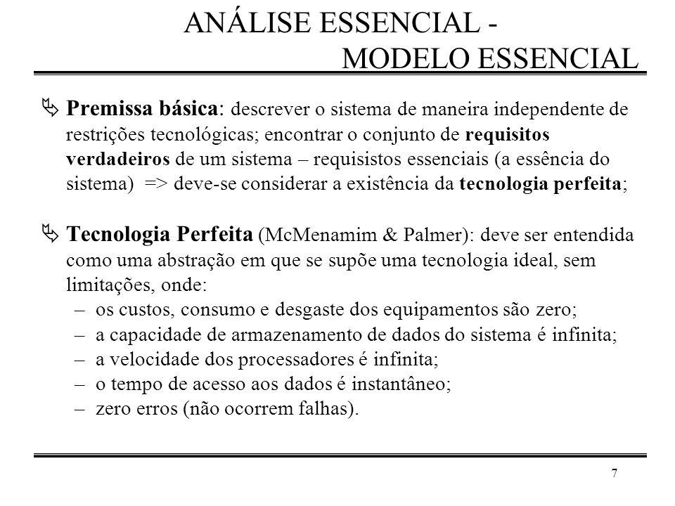 7 ANÁLISE ESSENCIAL - MODELO ESSENCIAL  Premissa básica: descrever o sistema de maneira independente de restrições tecnológicas; encontrar o conjunto