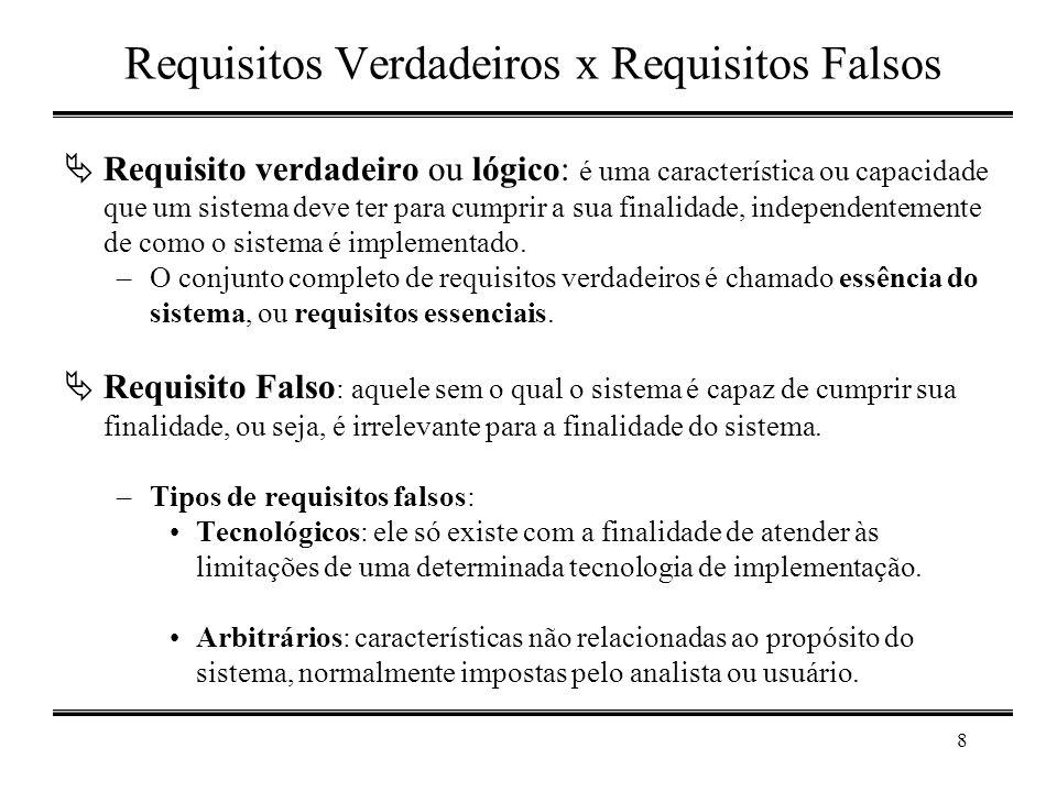 8 Requisitos Verdadeiros x Requisitos Falsos  Requisito verdadeiro ou lógico: é uma característica ou capacidade que um sistema deve ter para cumprir