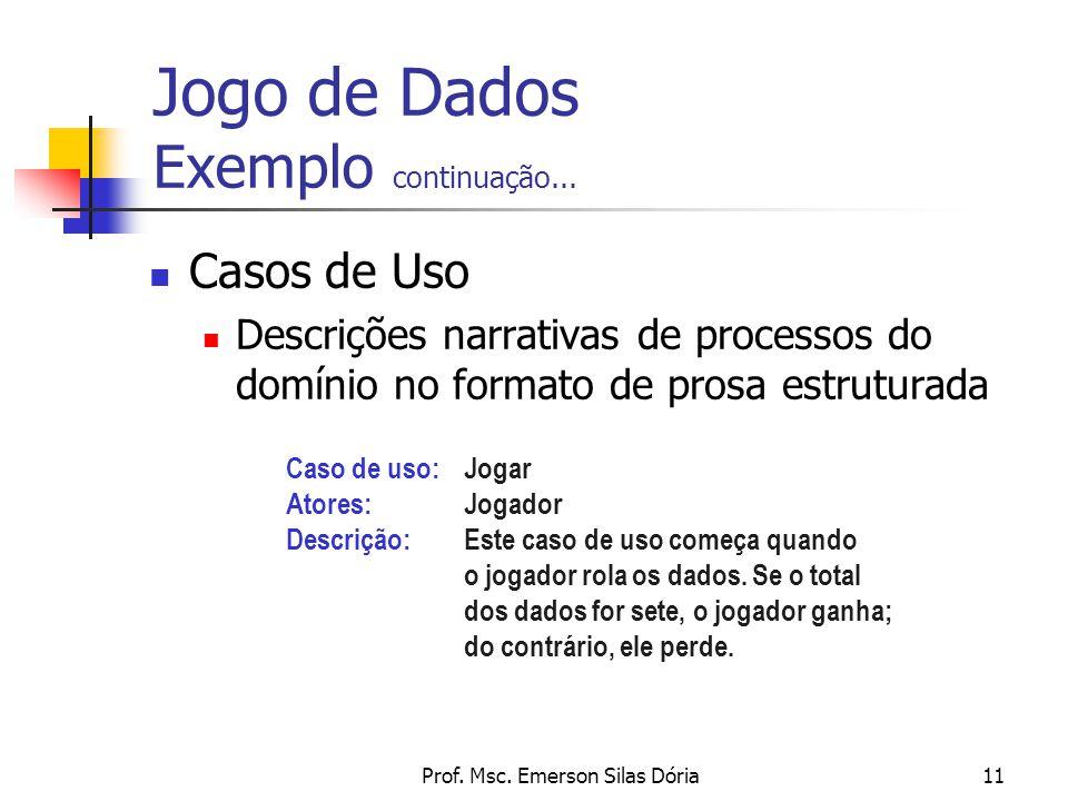 Prof. Msc. Emerson Silas Dória11 Casos de Uso Descrições narrativas de processos do domínio no formato de prosa estruturada Jogo de Dados Exemplo cont