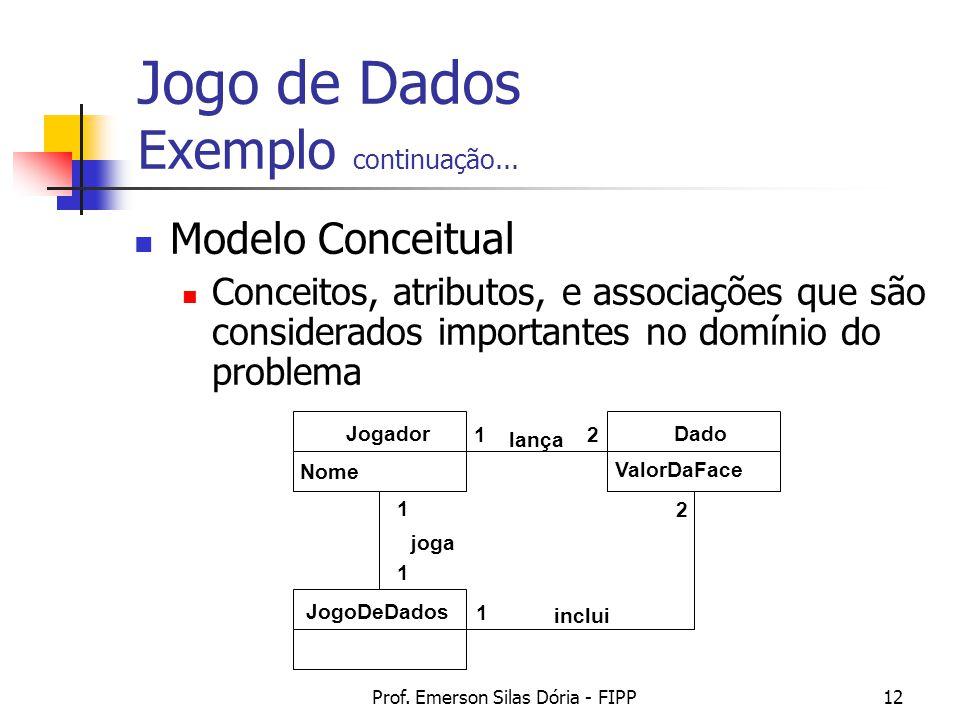 Prof. Emerson Silas Dória - FIPP12 Modelo Conceitual Conceitos, atributos, e associações que são considerados importantes no domínio do problema Jogad