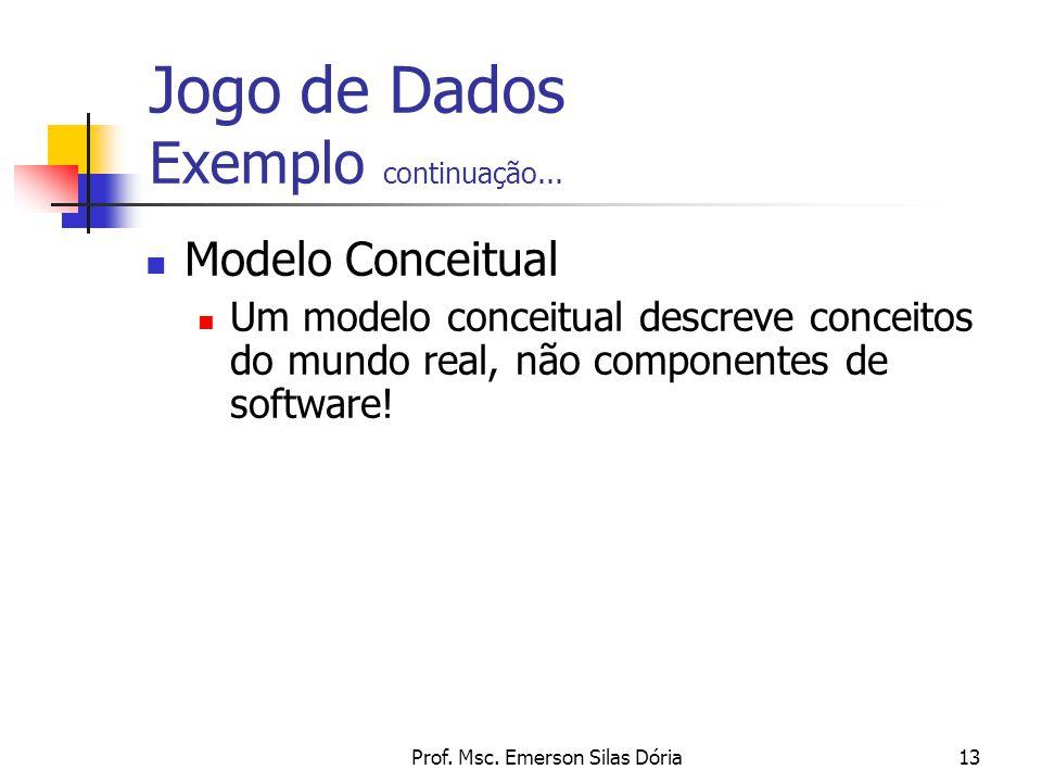 Prof. Msc. Emerson Silas Dória13 Modelo Conceitual Um modelo conceitual descreve conceitos do mundo real, não componentes de software! Jogo de Dados E