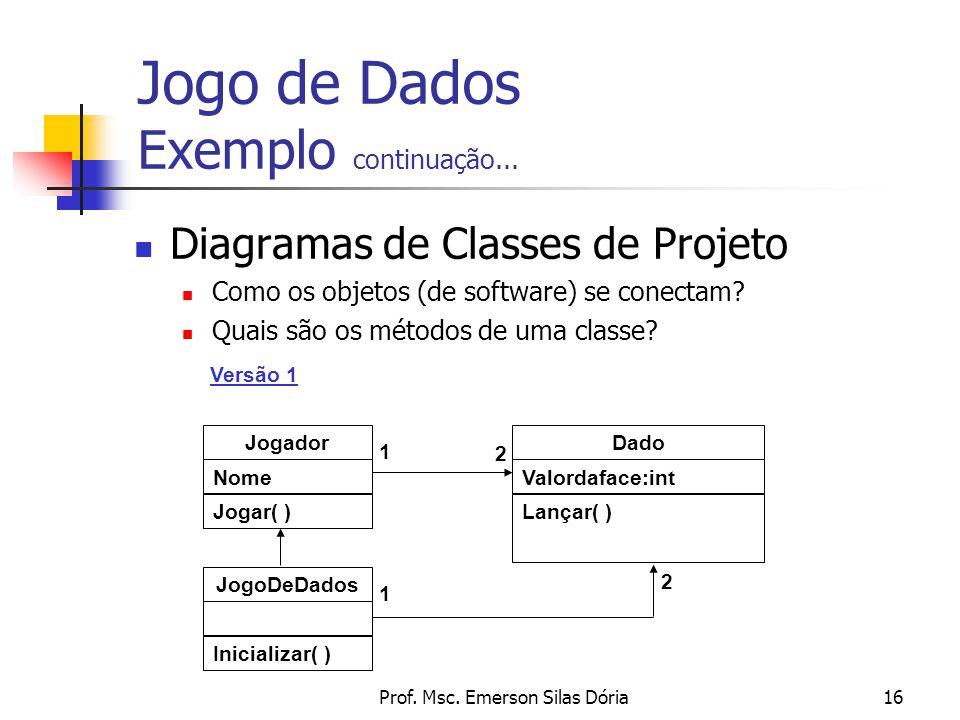 Prof. Msc. Emerson Silas Dória16 Diagramas de Classes de Projeto Como os objetos (de software) se conectam? Quais são os métodos de uma classe? 2 Joga
