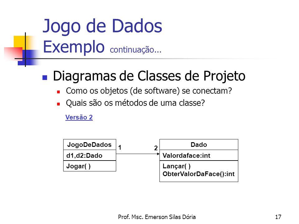 Prof. Msc. Emerson Silas Dória17 Diagramas de Classes de Projeto Como os objetos (de software) se conectam? Quais são os métodos de uma classe? Jogo d