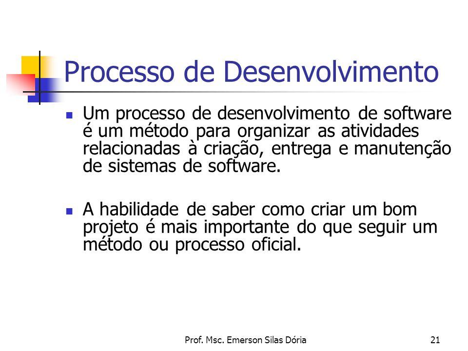 Prof. Msc. Emerson Silas Dória21 Processo de Desenvolvimento Um processo de desenvolvimento de software é um método para organizar as atividades relac