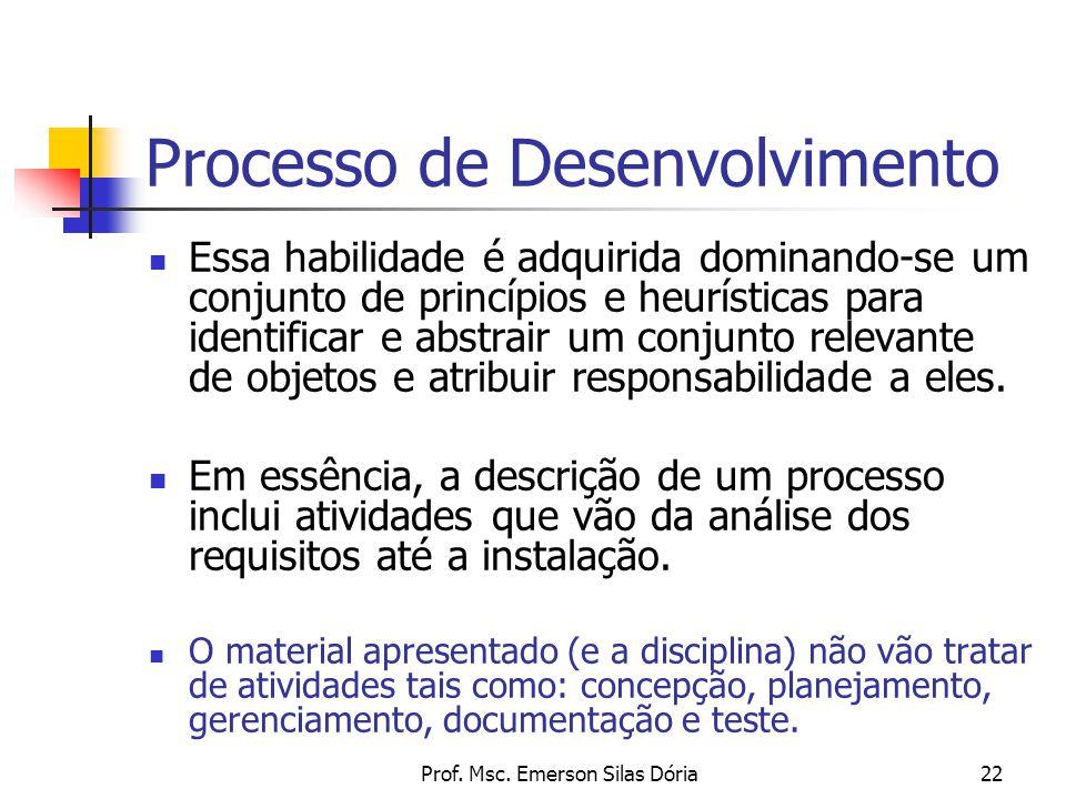 Prof. Msc. Emerson Silas Dória22 Processo de Desenvolvimento Essa habilidade é adquirida dominando-se um conjunto de princípios e heurísticas para ide