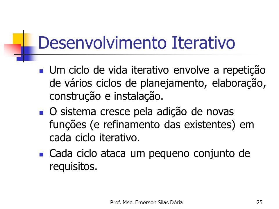 Prof. Msc. Emerson Silas Dória25 Desenvolvimento Iterativo Um ciclo de vida iterativo envolve a repetição de vários ciclos de planejamento, elaboração