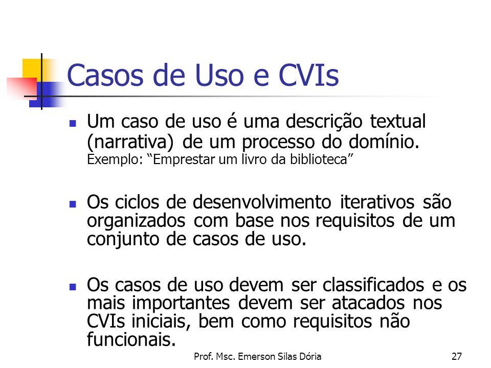 """Prof. Msc. Emerson Silas Dória27 Casos de Uso e CVIs Um caso de uso é uma descrição textual (narrativa) de um processo do domínio. Exemplo: """"Emprestar"""