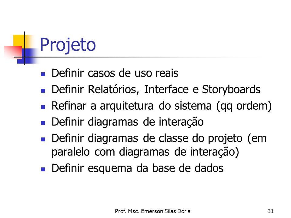 Prof. Msc. Emerson Silas Dória31 Projeto Definir casos de uso reais Definir Relatórios, Interface e Storyboards Refinar a arquitetura do sistema (qq o