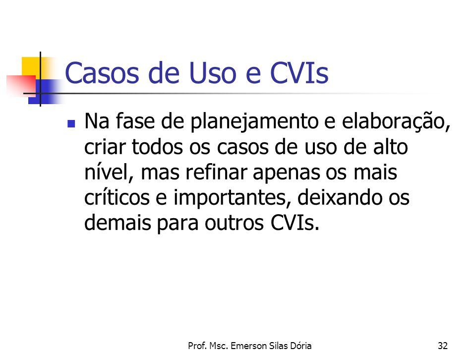 Prof. Msc. Emerson Silas Dória32 Casos de Uso e CVIs Na fase de planejamento e elaboração, criar todos os casos de uso de alto nível, mas refinar apen