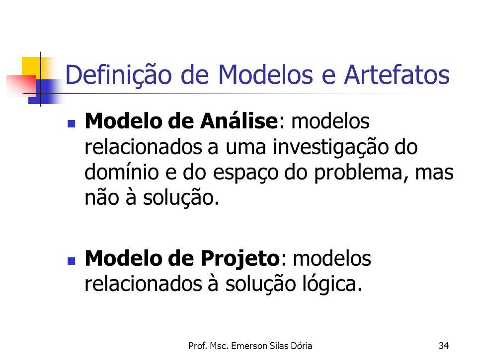Prof. Msc. Emerson Silas Dória34 Definição de Modelos e Artefatos Modelo de Análise: modelos relacionados a uma investigação do domínio e do espaço do