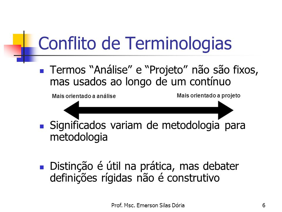 """Prof. Msc. Emerson Silas Dória6 Termos """"Análise"""" e """"Projeto"""" não são fixos, mas usados ao longo de um contínuo Significados variam de metodologia para"""