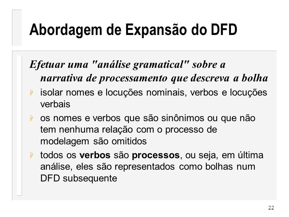23 Abordagem de Expansão do DFD H todos os nomes são entidades externas, itens de dados ou depósitos de dados.