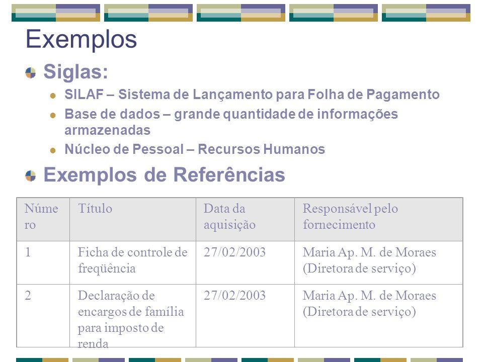 Exemplos Siglas: SILAF – Sistema de Lançamento para Folha de Pagamento Base de dados – grande quantidade de informações armazenadas Núcleo de Pessoal