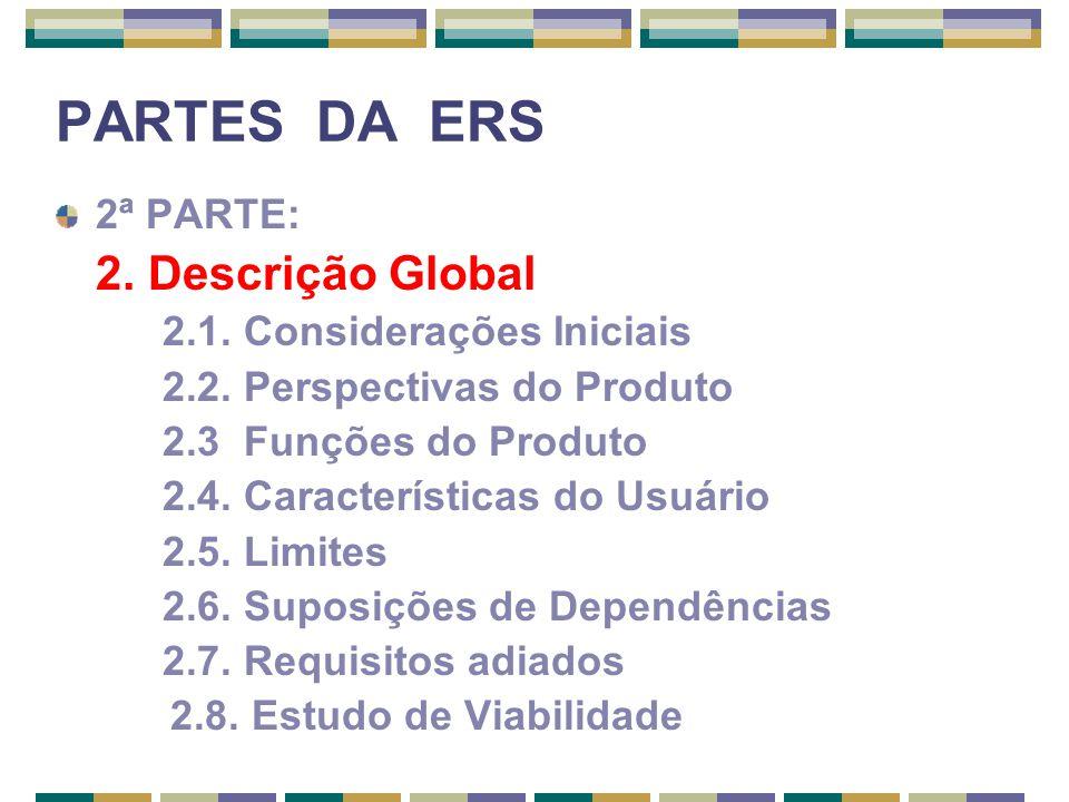 PARTES DA ERS 2ª PARTE: 2. Descrição Global 2.1. Considerações Iniciais 2.2. Perspectivas do Produto 2.3 Funções do Produto 2.4. Características do Us