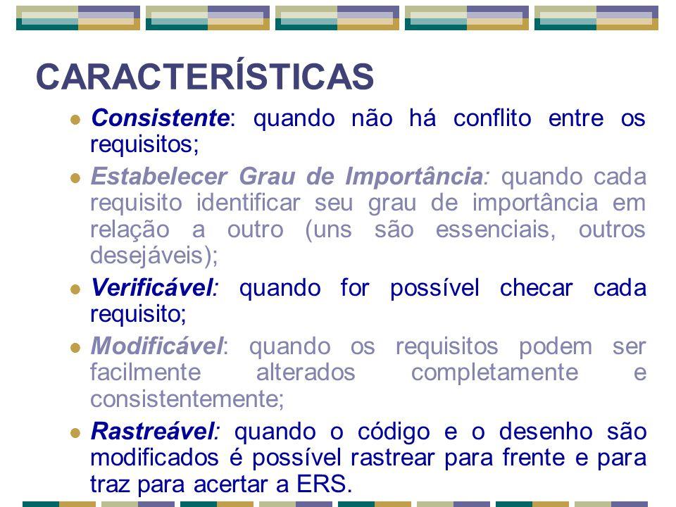 CARACTERÍSTICAS Consistente: quando não há conflito entre os requisitos; Estabelecer Grau de Importância: quando cada requisito identificar seu grau d