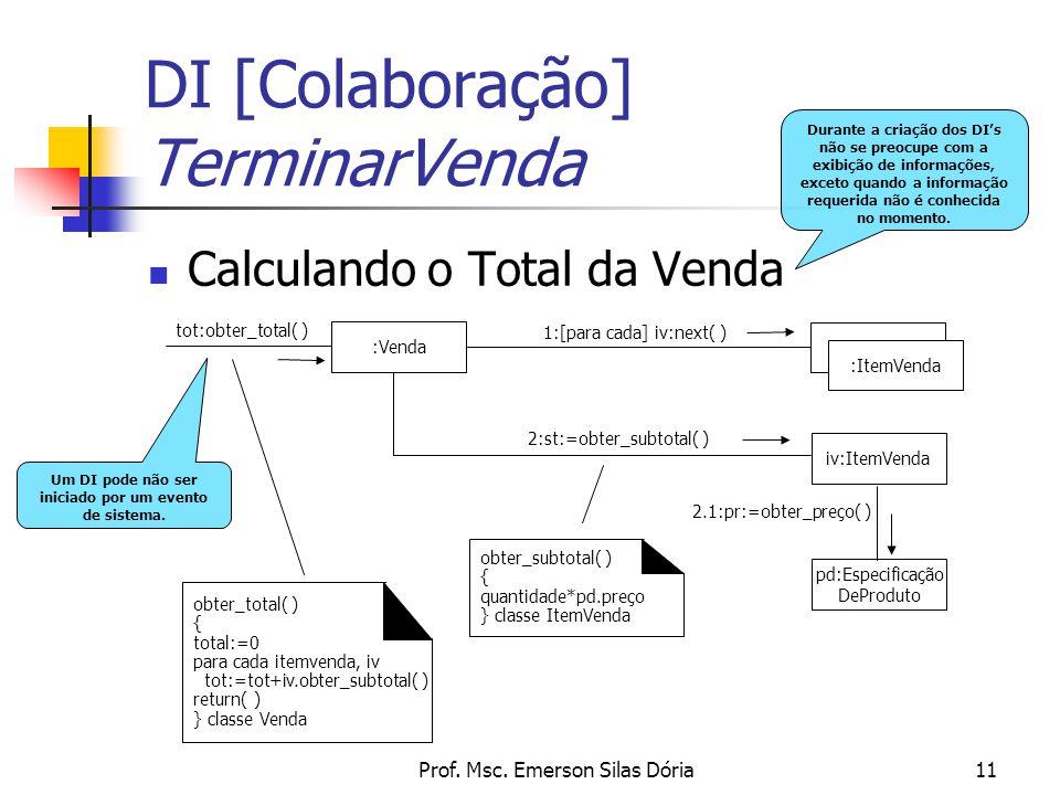 Prof. Msc. Emerson Silas Dória11 Calculando o Total da Venda DI [Colaboração] TerminarVenda Durante a criação dos DI's não se preocupe com a exibição