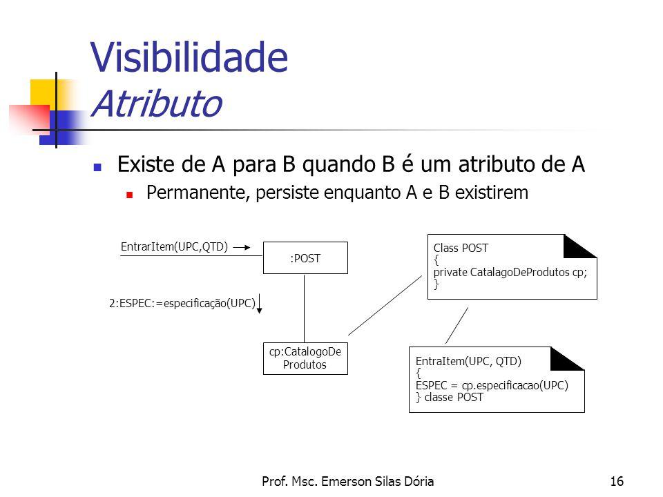 Prof. Msc. Emerson Silas Dória16 Visibilidade Atributo Existe de A para B quando B é um atributo de A Permanente, persiste enquanto A e B existirem :P