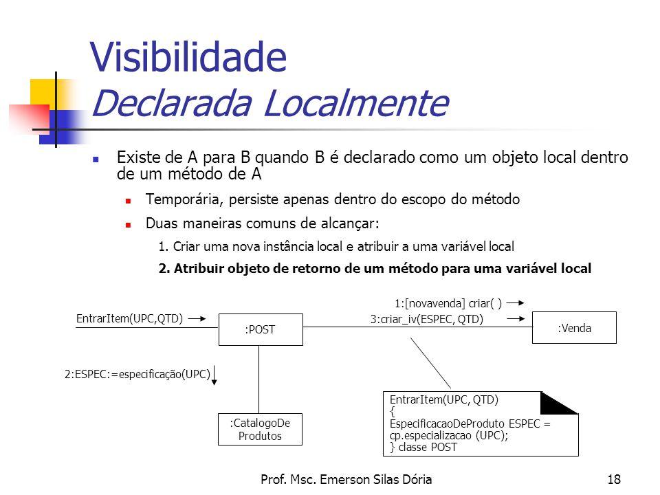 Prof. Msc. Emerson Silas Dória18 Visibilidade Declarada Localmente Existe de A para B quando B é declarado como um objeto local dentro de um método de