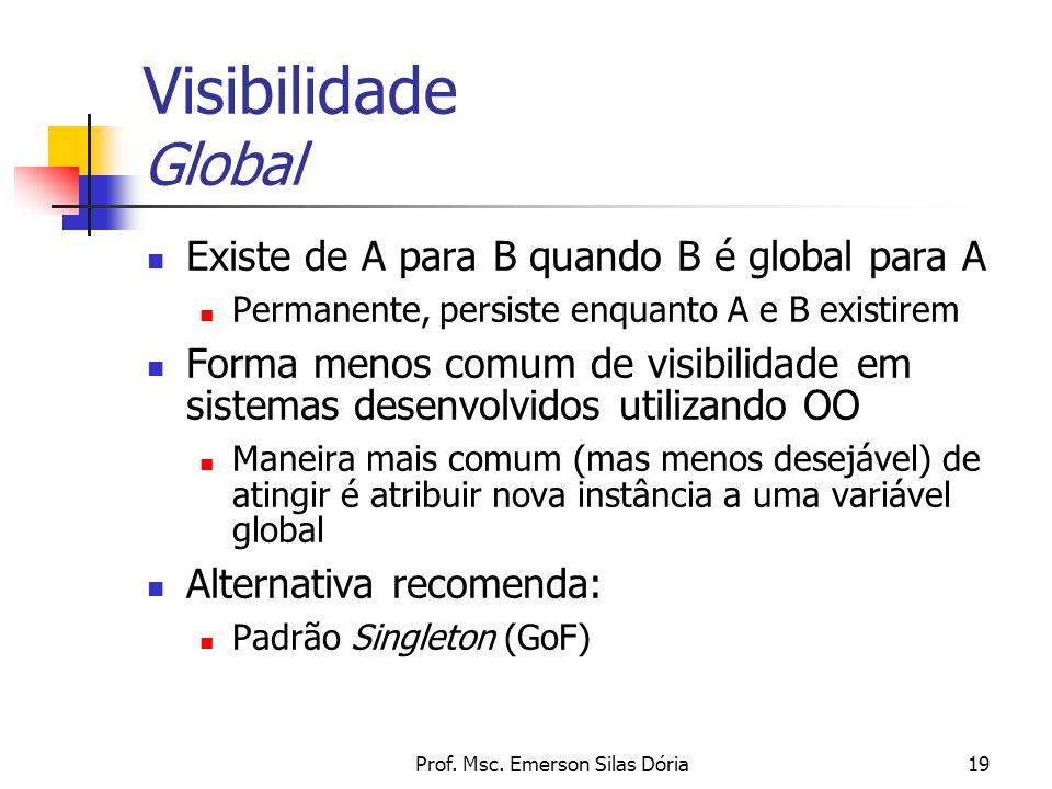 Prof. Msc. Emerson Silas Dória19 Visibilidade Global Existe de A para B quando B é global para A Permanente, persiste enquanto A e B existirem Forma m