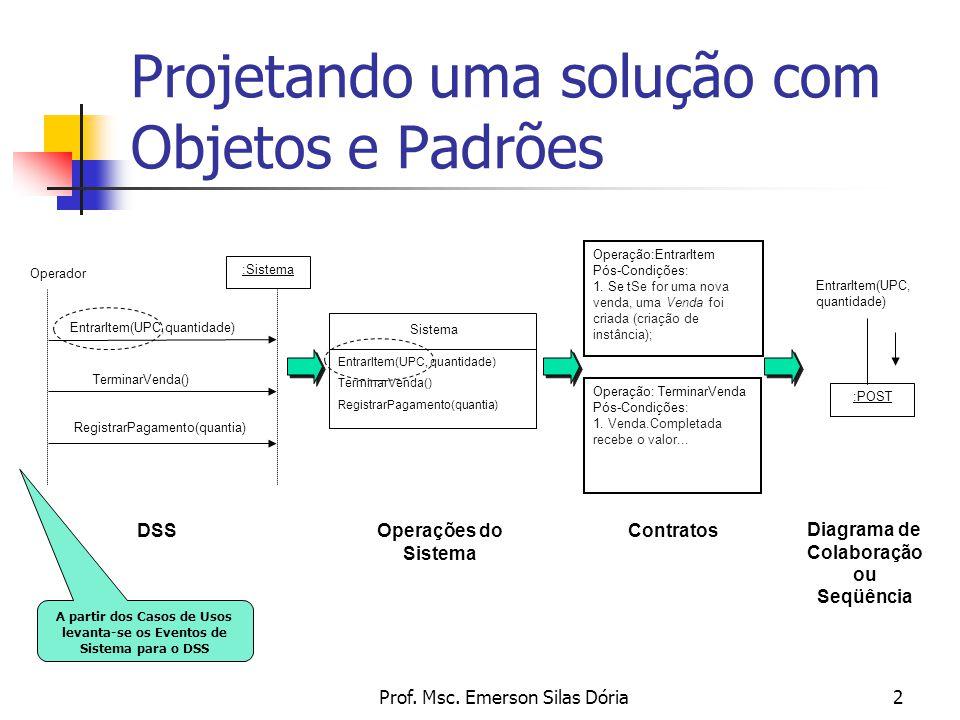 Prof. Msc. Emerson Silas Dória2 Projetando uma solução com Objetos e Padrões Operação:EntrarItem Pós-Condições: 1. Se tSe for uma nova venda, uma Vend
