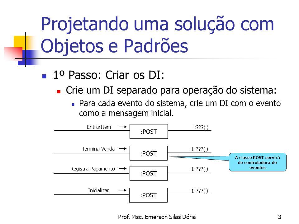 Prof. Msc. Emerson Silas Dória3 Projetando uma solução com Objetos e Padrões 1º Passo: Criar os DI: Crie um DI separado para operação do sistema: Para