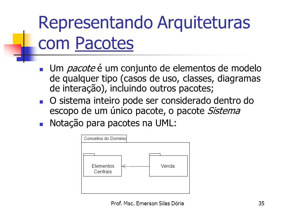 Prof. Msc. Emerson Silas Dória35 Representando Arquiteturas com Pacotes Um pacote é um conjunto de elementos de modelo de qualquer tipo (casos de uso,