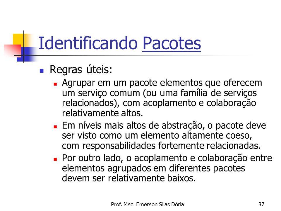 Prof. Msc. Emerson Silas Dória37 Identificando Pacotes Regras úteis: Agrupar em um pacote elementos que oferecem um serviço comum (ou uma família de s