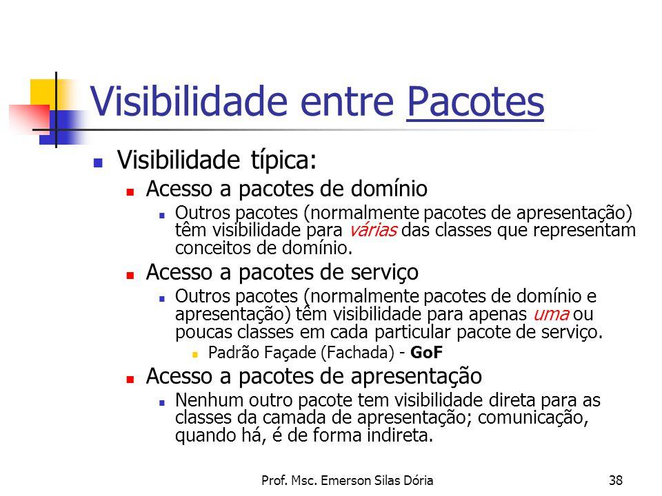 Prof. Msc. Emerson Silas Dória38 Visibilidade entre Pacotes Visibilidade típica: Acesso a pacotes de domínio Outros pacotes (normalmente pacotes de ap
